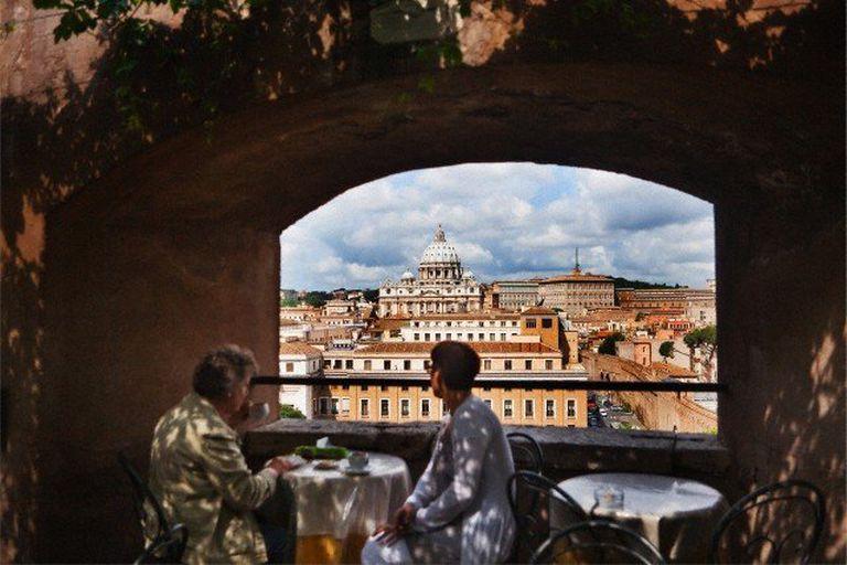 La cúpula de San Pietro, en el Vaticano, desde la terraza del Mausoleo de Adriano