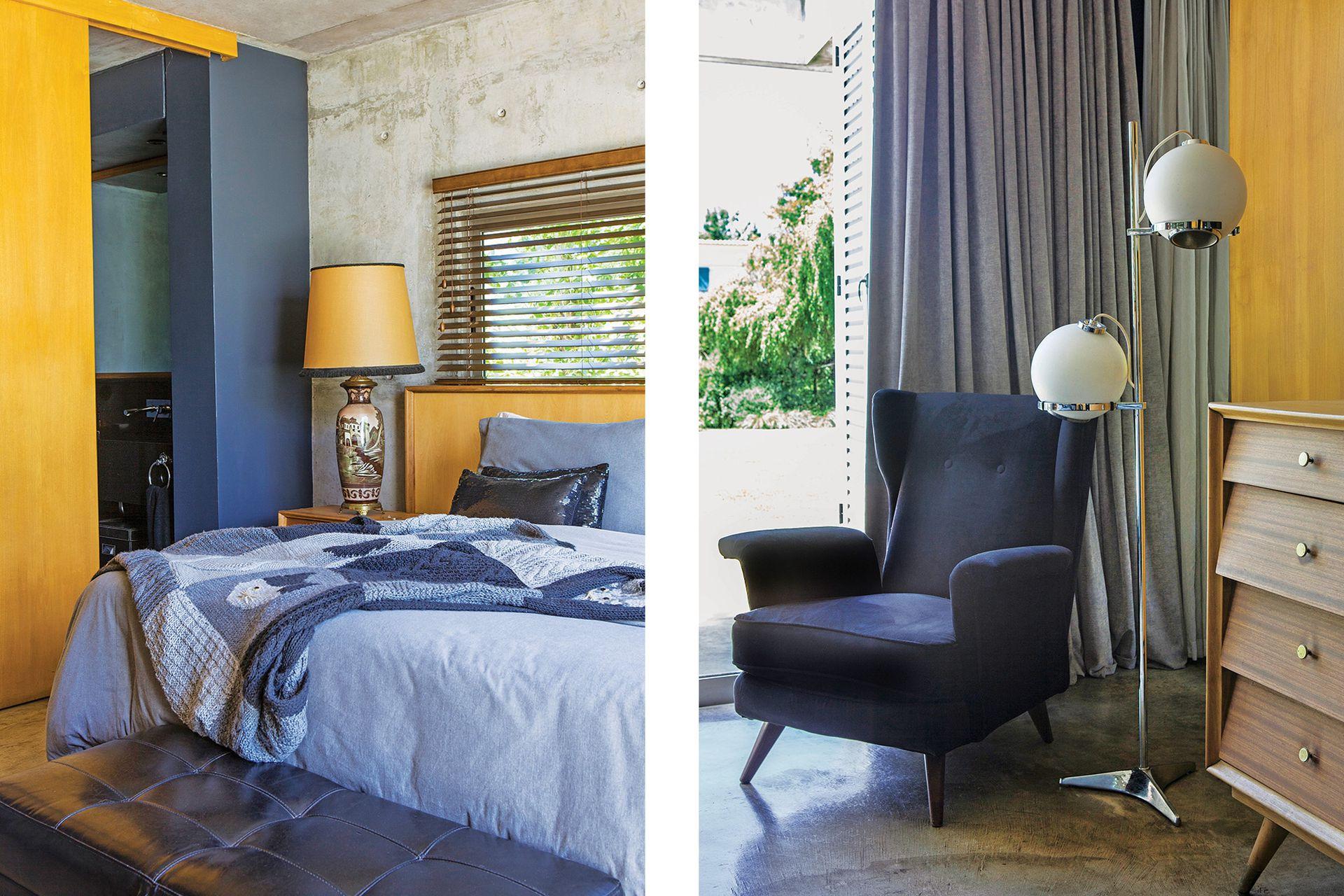 En el dormitorio, la cómoda estilo americano (Chez Carolaine Decor) es iluminada por una lámpara retro de pie (Gropius).