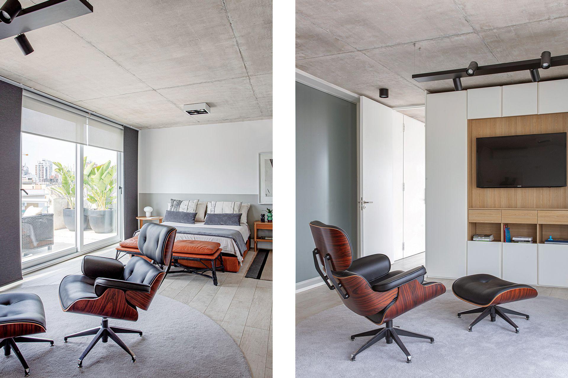 Sillón 'Eames' heredado. El mueble en melamina blanca y roble natural (Egger) que aloja la tele es un diseño del Estudio CDW ejecutado por Occhipinti. Carpeta circular gris, de la colección 'Magnifika' (Kalpakian).