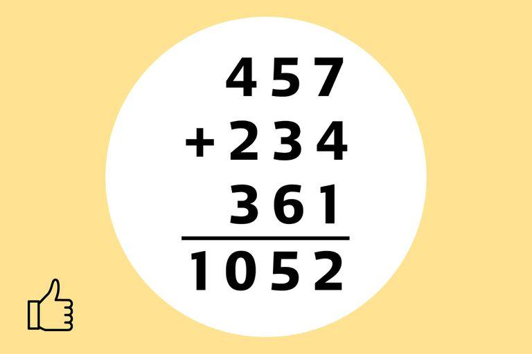 Reemplazamos todas las letras por su respectivos valores numéricos, sumamos y obtenemos 1052 como resultado