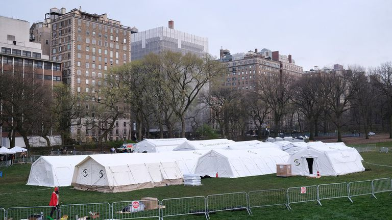 Hospital de campaña en el Central Park de Nueva York