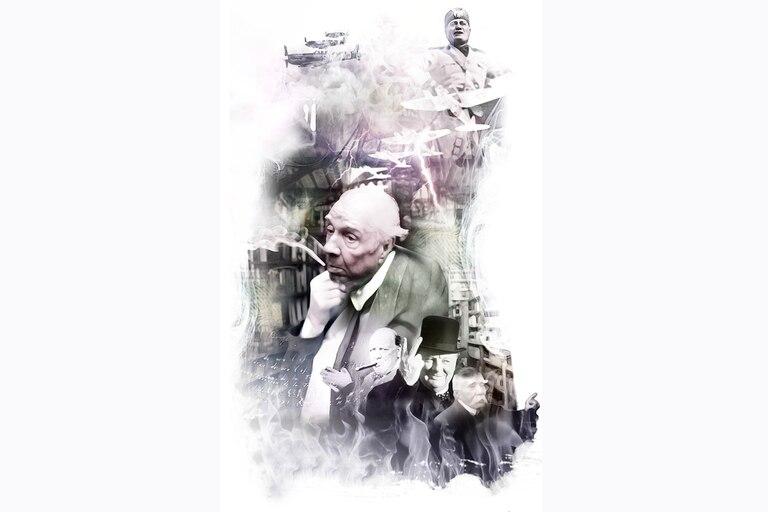 Benito Mussolini, el líder fascista que llevó a Italia a la derrota en la Segunda Guerra Mundial; Jorge Luis Borges, el más notable escritor argentino del siglo pasado; Churchill, primer ministro británico durante la II Guerra Mundial y Clemenceau, premier francés en la Primera Guerra