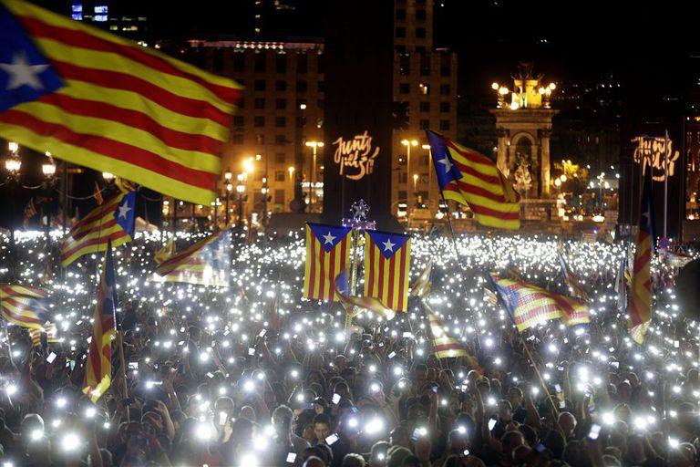 El cierre de campaña de los separatistas, anteanoche, en Barcelona
