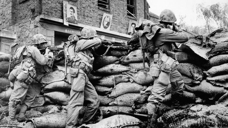 Las tropas de la ONU, en la guerra de las Coreas en septiembre de 1950