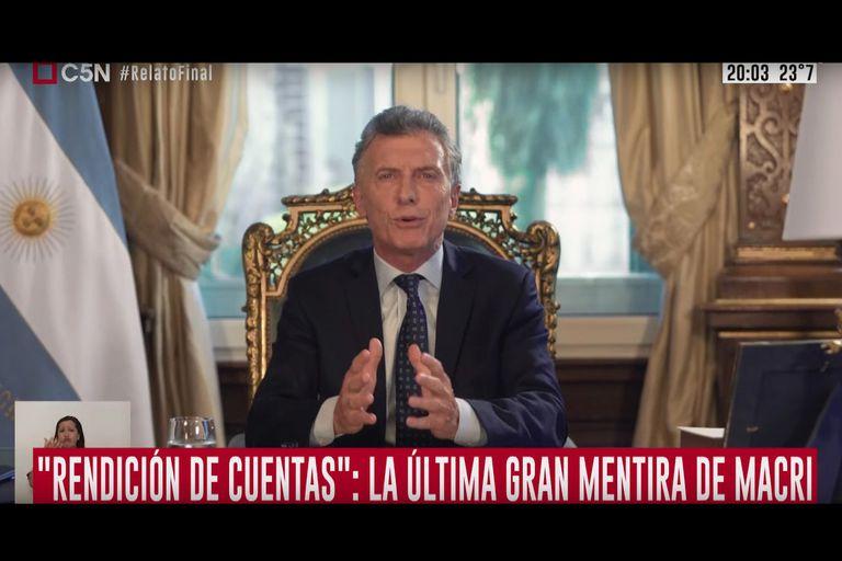 La señal respondía con sus zócalos a cada uno de los ítems planteados por Macri en su cadena