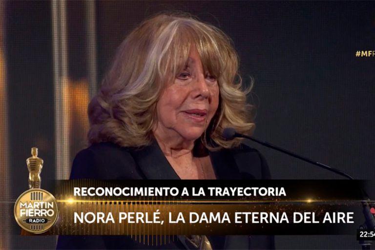 Nora Perlé obtuvo un reconocimiento a su trayectoria en los Martín Fierro a la Radio 2019