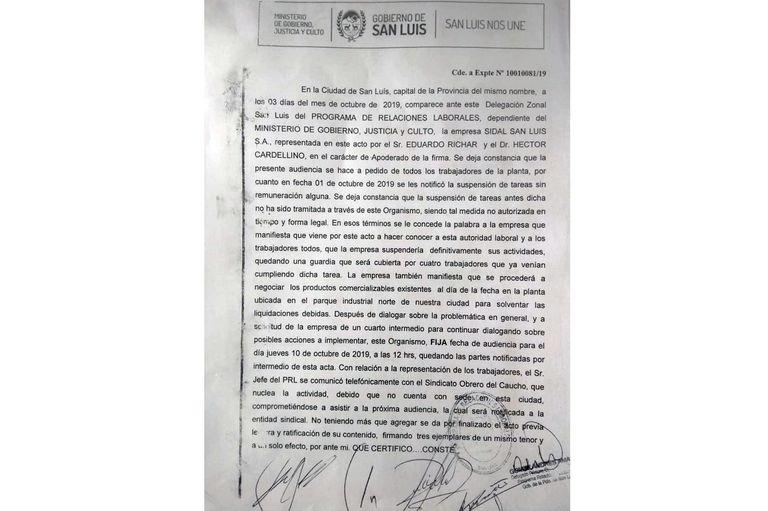 Facsímil del acta en la que consta la intención de cierre de la planta de San Luis.