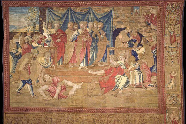 """Los tapices de Rafael son tan perfectos que parecen pinturas y llegan a pesar hasta 70 kilos; en la imagen, """"Morte di Anania"""""""