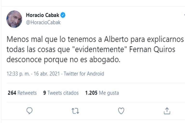 Desde la clínica en la que se encuentra internado, Horacio Cabak criticó los dichos de Alberto Fernández durante su conferencia de prensa del viernes