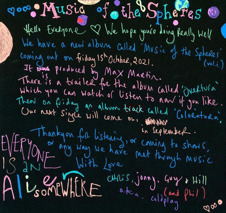 El collage manuscrito con el que Coldplay adelantó su nuevo disco