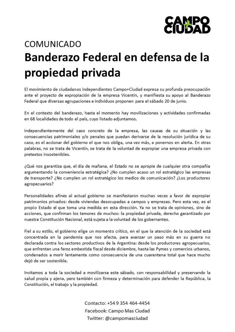 Comunicado de la convocatoria para el banderazo federal contra la expropiación de Vicentin