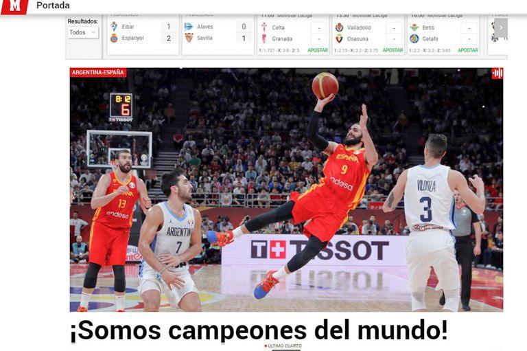Las repercusiones de la caída de la Argentina en el mundo. Aquí, la portada digital del diario Marca.