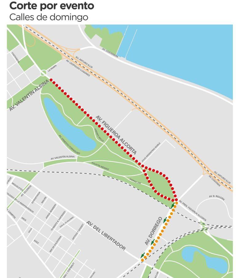 En el mapa se muestran los cortes de tránsito por el evento Calles de Domingo