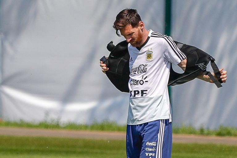 Lio Messi en el entrenamiento de hoy