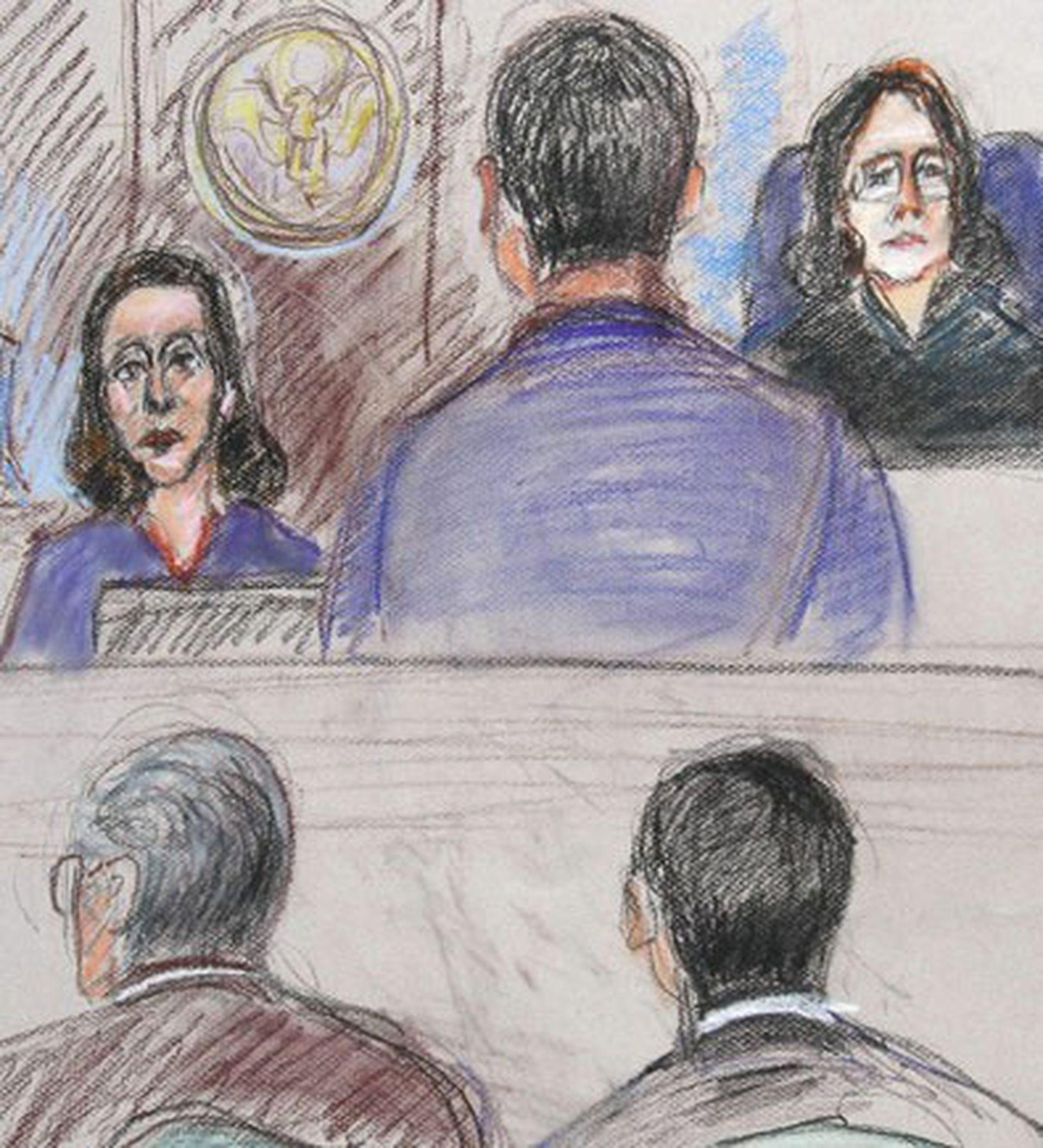 Dibujo de Telpuk declarando en el juicio por el caso Antonini WIlson en Miami