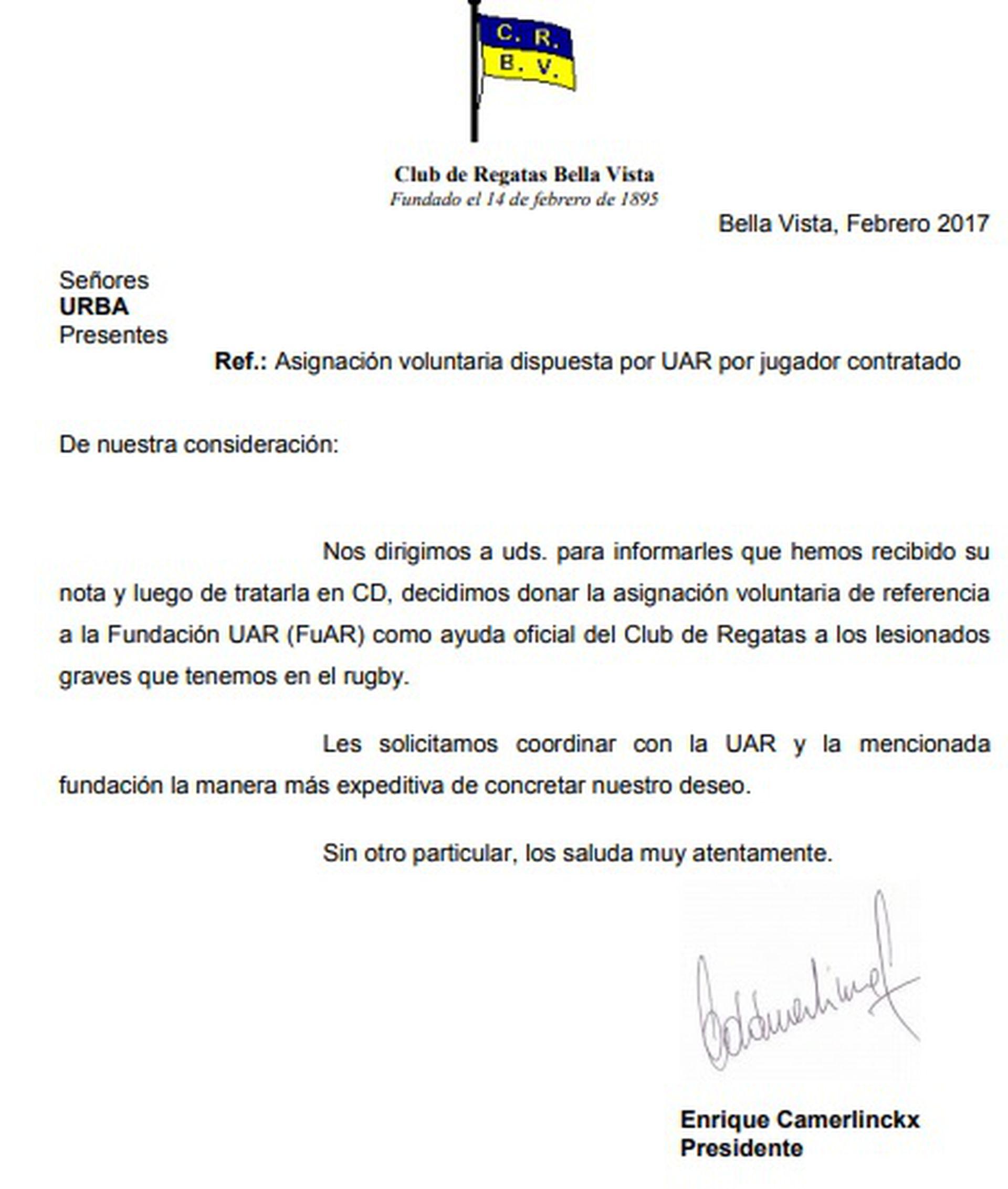 La carta que Regatas Bella Vista envió a la URBA en la que le comunicó que donaba el dinero por los derechos formativos de Santiago Cordero a la FUAR