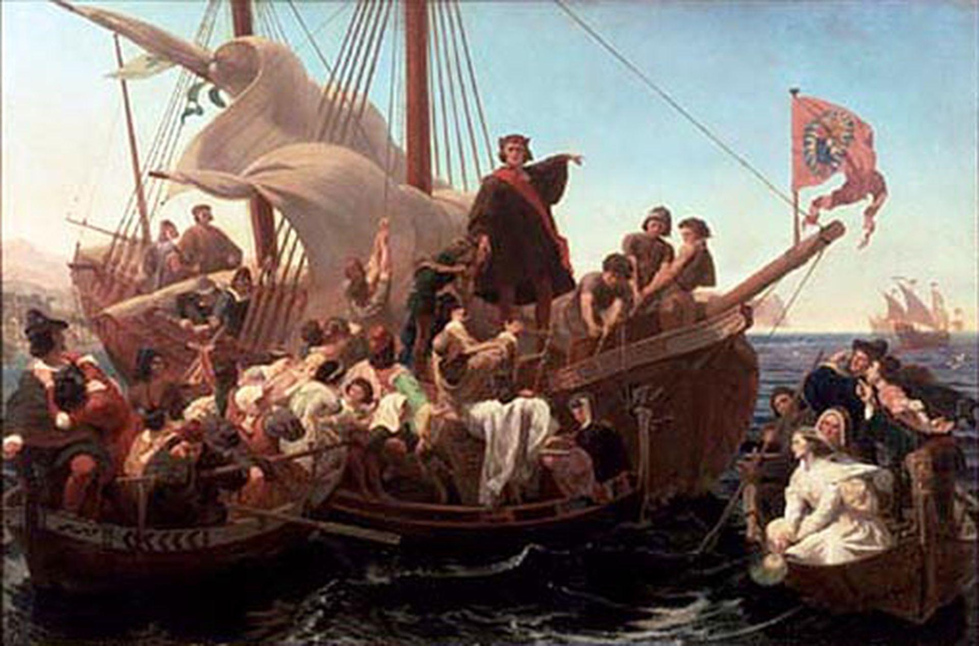Colón a bordo de la Santa María en otra de las tantas representaciones pictóricas que evocan la histórica travesía de 1492. Archivo La Nación.