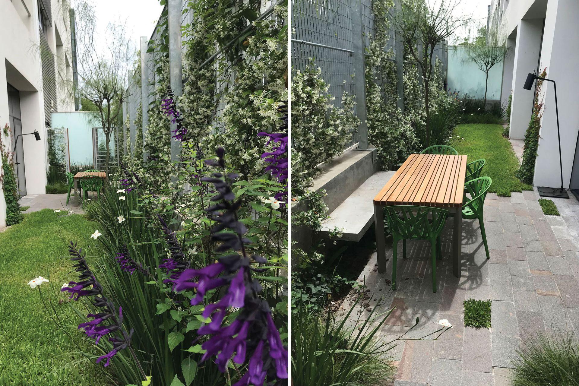 Una superficie angosta y larga fue resuelta con una mesa para seis, césped y plantas que atraen picaflores y mariposas. Además, se construyó un banco fijo de hormigón usando de respaldo el murete que sostiene la reja.