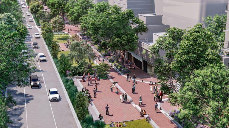 Quitarán carriles en una avenida para instalar un parque, canchas de fútbol-tenis y postas aeróbicas