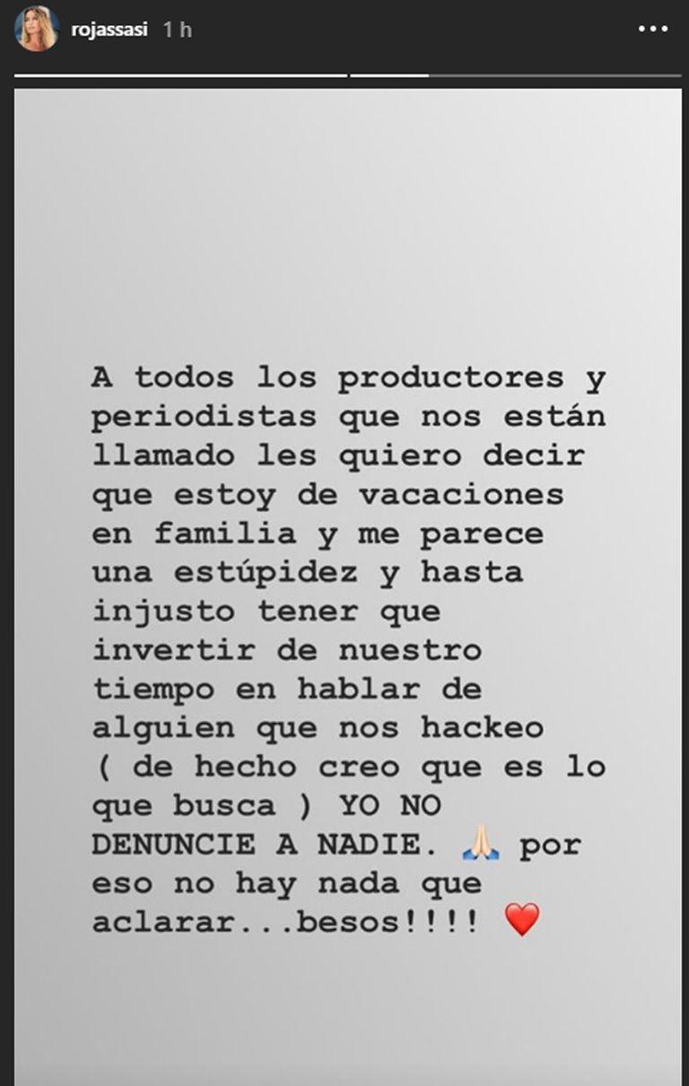 Otro mensaje de Sabrina Rojas tras el hackeo