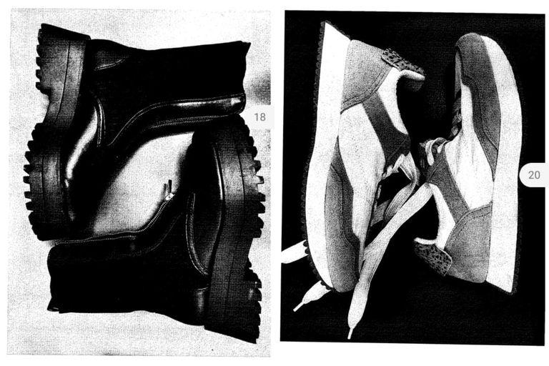 Los dos pares de calzado que Verónica Monti habría intentado llevarse sin pagar de un local de ropa del Alto Palermo