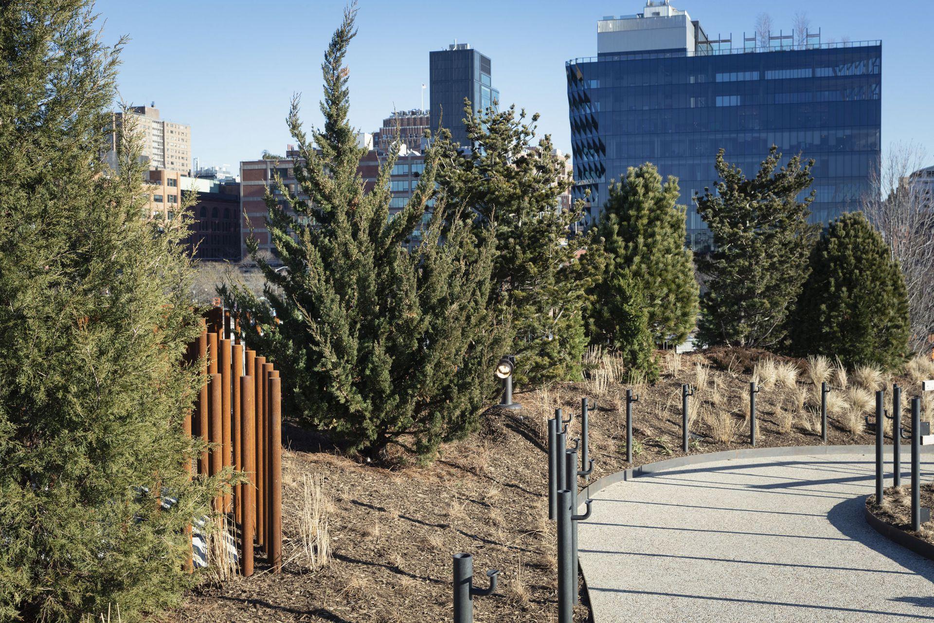 El diseño paisajístico incluyó plantaciones variadas para proporcionar un entorno cambiante en cada estación del año, con árboles y arbustos que fluyen, follaje otoñal y árboles de hoja perenne, como los de la foto.