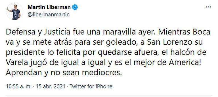 Martín Liberman felicitó a Defensa y Justica y cargó contra Boca y San Lorenzo