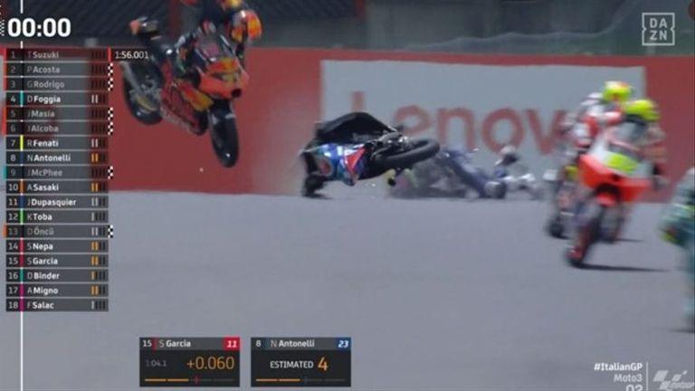 El impacto de Dupasquier en el circuito Mugello, durante la clasificación del Moto3