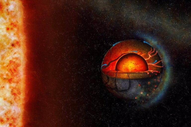 La ilustración de este artista representa la posible dinámica interior del exoplaneta super-terrestre LHS 3844b