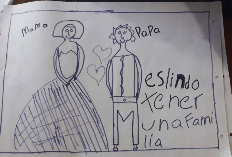 Fernanda hizo un dibujo en el que expresa su deseo