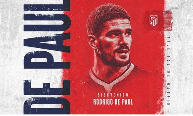 El Atlético de Madrid le dio la bienvenida en sus redes sociales a Rodrigo De Paul, refuerzo de Udinese que viene de ser campeón de América con la selección argentina