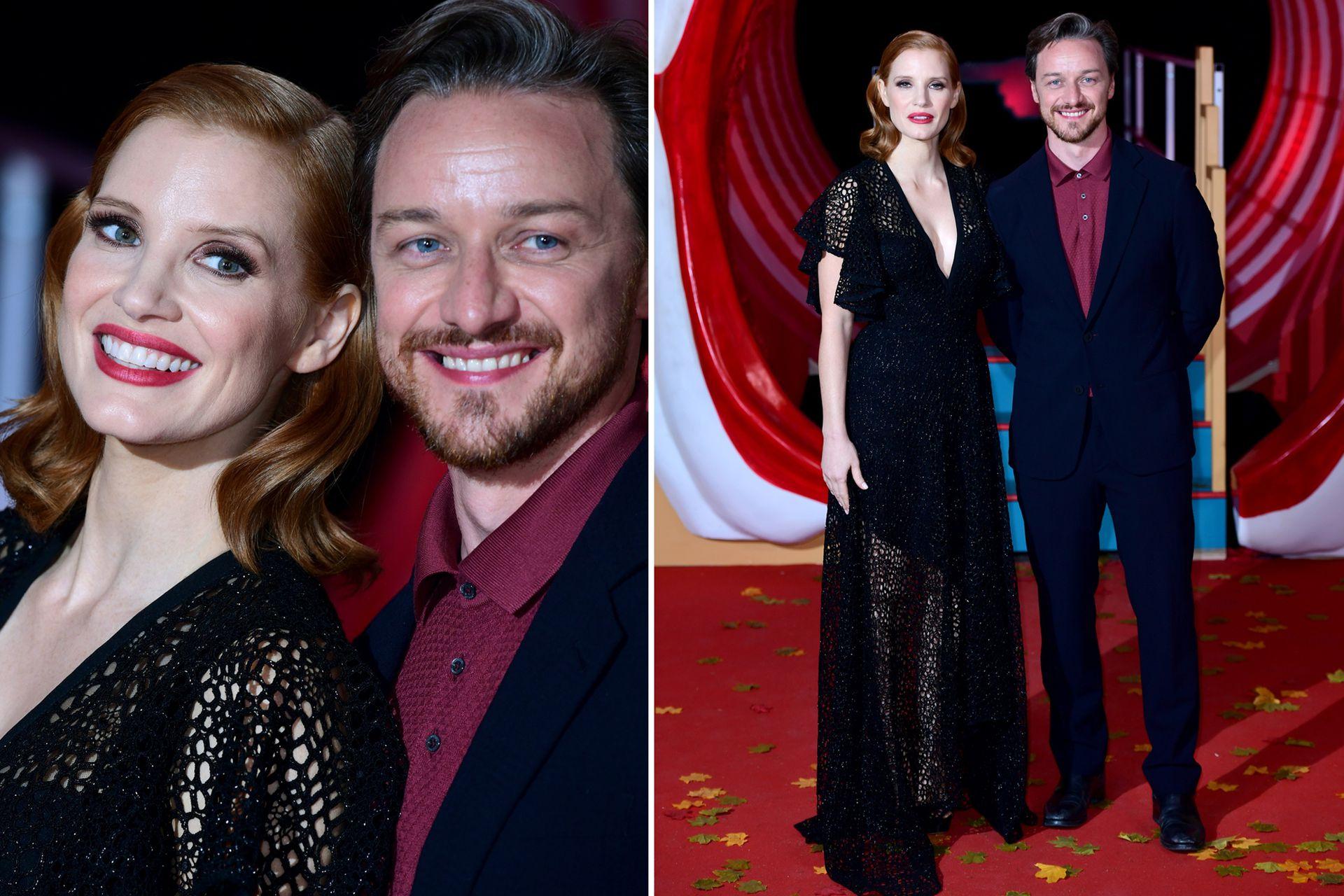 Muy sonrientes. Así se mostraron Jessica Chastain y James McAvoy en la premiere de la segunda entrega de It realizada en Londres