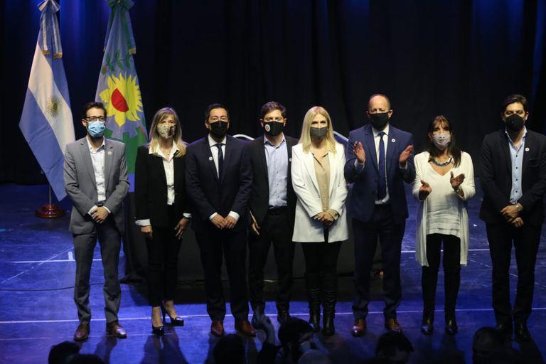 El gobernador Axel Kicillof en la jura de los ministros de la provincia