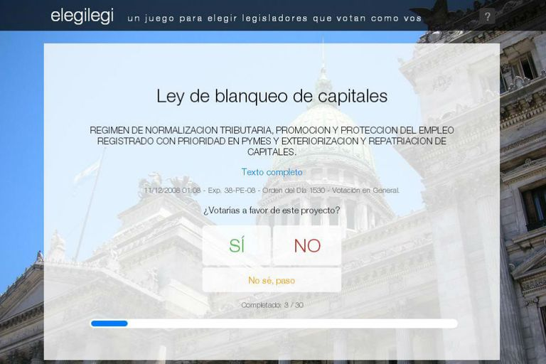 El juego virtual propone votar entre 30 leyes sancionadas por el Congreso