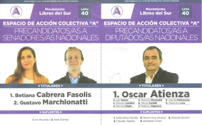El Movimiento Libres del Sur compite con lista única en las PASO cordobesas.