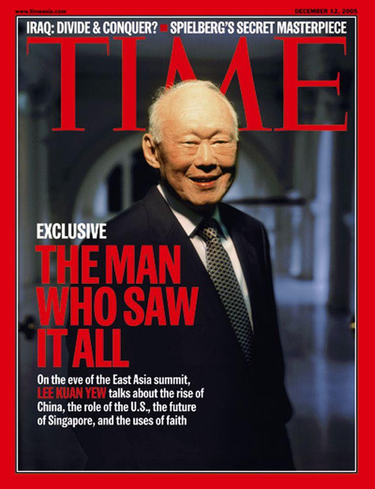 """Lee Kwan Yew en la portada de Time. """"El hombre que lo vio todo"""""""