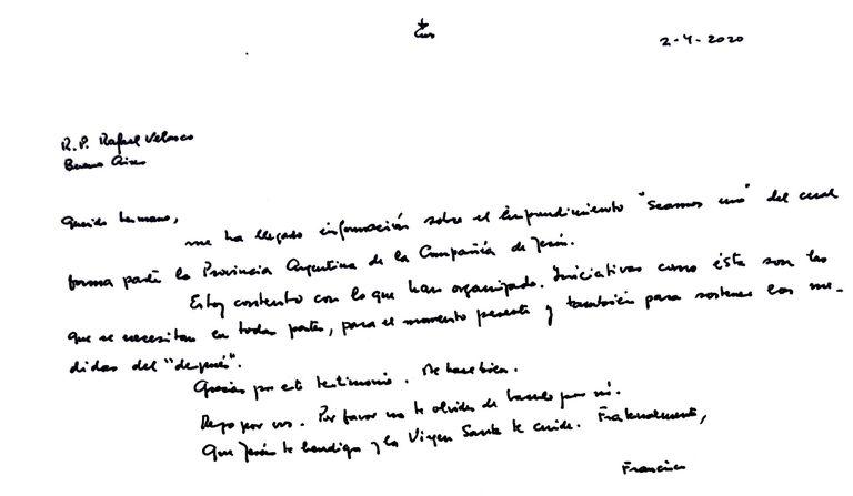La carta que el Papa Francisco envió para respaldar el proyecto solidario