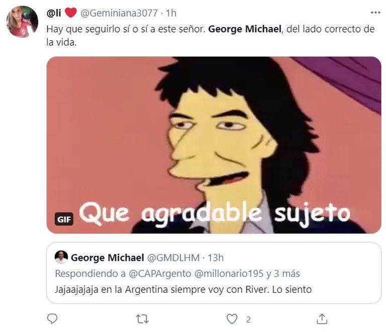 Los hinchas de River celebrando el fanatismo de George Michael por el equipo millonario
