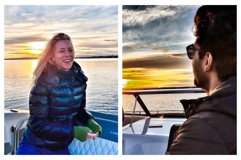 Fotos y videos en las redes sociales de la modelo y el piloto de carreras prueban que la relación se afianza día a día