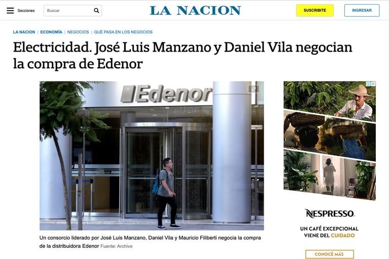 La venta de Edenor al grupo Vila-Manzano había sido anticipada por La Nación hace un par de semanas
