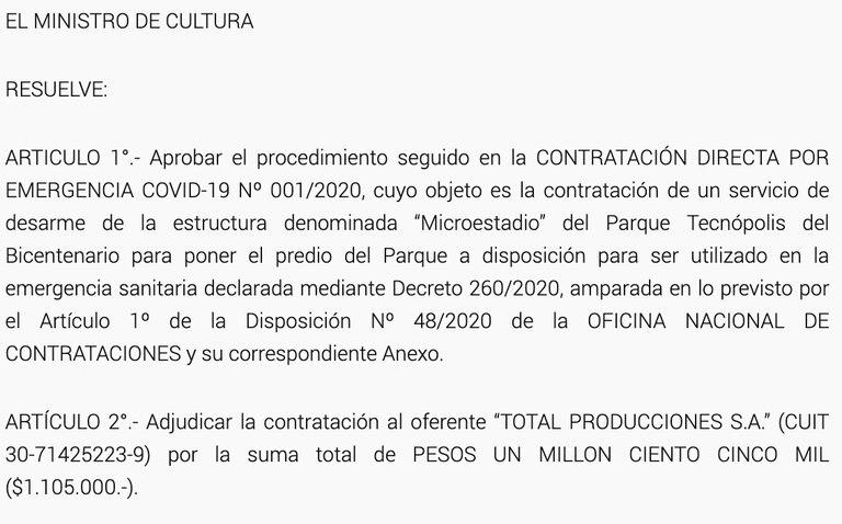 La publicación en el Boletín Oficial sobre la adjudicaciones del servicio de desarme enTecnópolis