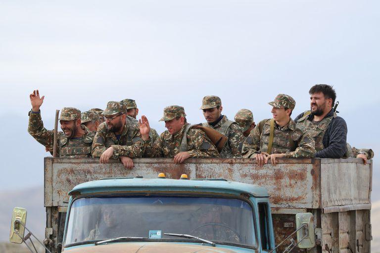 Soldados de Nagorno, en los combates de los últimos días