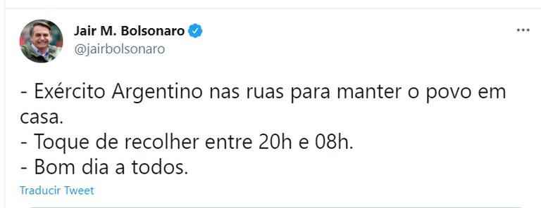 El tuit de Bolsonaro
