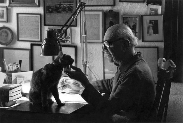 """""""Manucho"""" junto a su gato Balzac en su escritorio"""