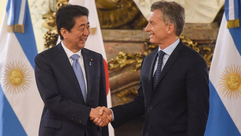 Macri junto a su par japonés, Shinzo Abe, durante la visita que hizo a nuestro país en noviembre del año pasado