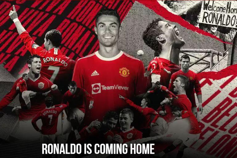 """""""Ronaldo vuelve a casa"""", dice la página principal del sitio oficial de Manchester United"""