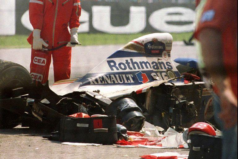 El Williams destrozado del brasileño, tras el golpe fatal en la vuelta 6 del Gran Premio de San Marino de 1994