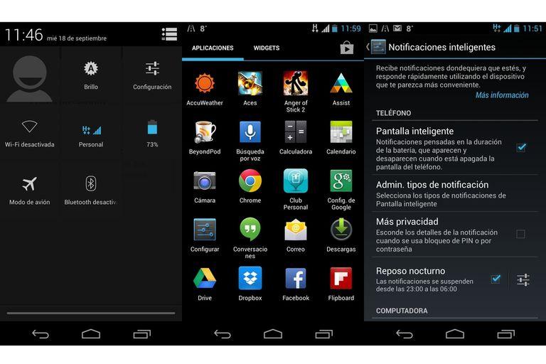 Los botones que agregó al menú de notificaciones; el aspecto general; el menú de configuración de las notificaciones en pantalla