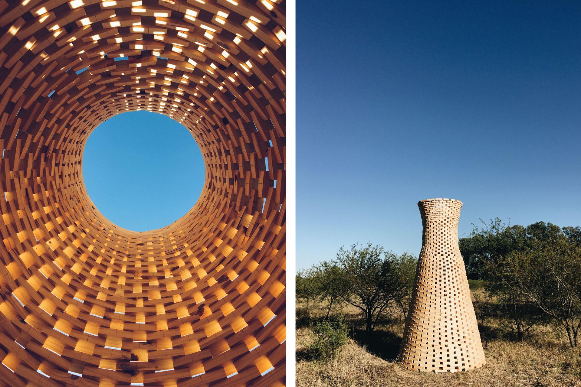 """Imágenes a escala real del proyecto """"Las Chimeneas"""", del estudio uruguayo Fábrica de Paisaje, visto en la edición 2018 de Hello Wood."""