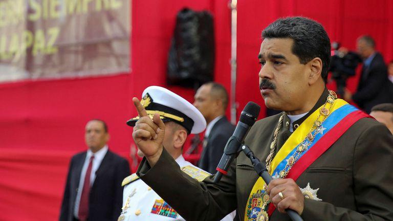 Nicolás Maduro, ayer, en un desfile militar